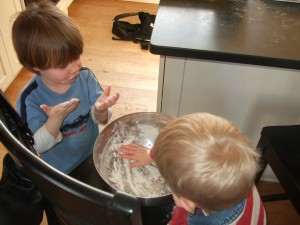 """Connor and Tommy """"licking the bowl""""(alternate text location)"""