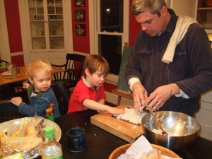 Ben and the boys making sushi, Nov. 27, 2010, 2