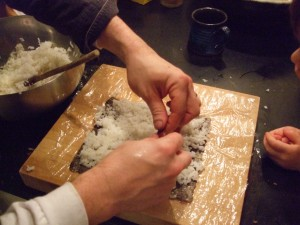 Ben and the boys making sushi, Nov. 27, 2010, 3
