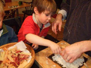 Ben and the boys making sushi, Nov. 27, 2010, 4