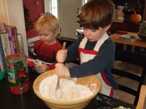 Ben and the boys making Christmas cookies, Dec. 5, 2010, 2