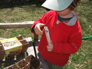 Connor planting seeds 2