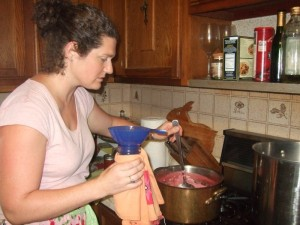 Margaret ladling strawberry Jam at Class, July 2010