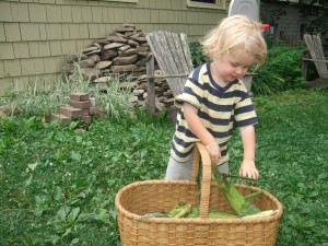 Ian with the basket of corn, july 2010