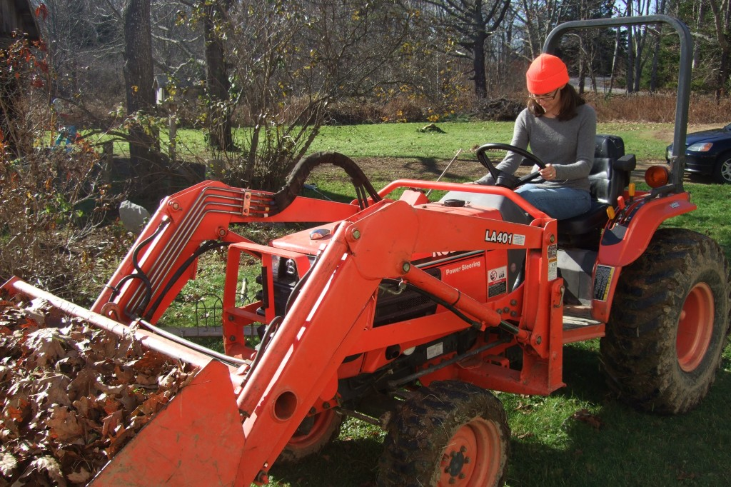 me and leaves on tractor