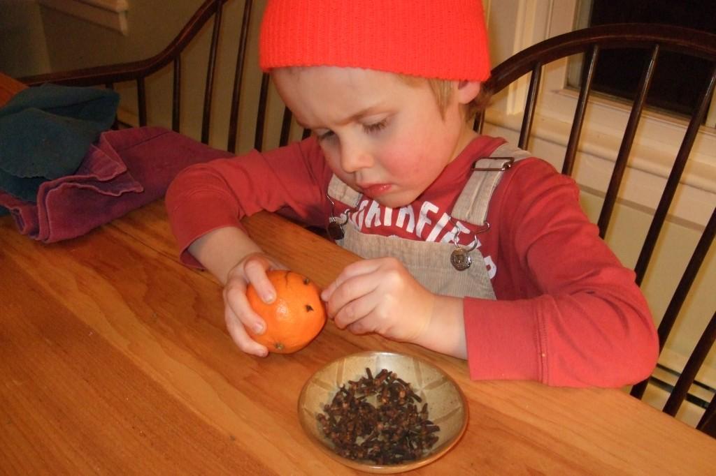 Ian making pomander balls
